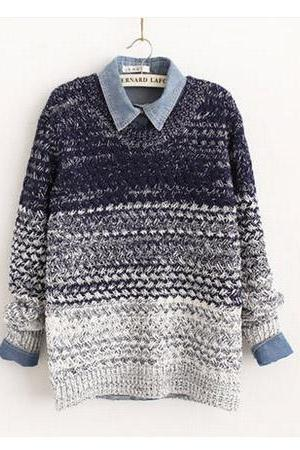 Fashion Gradient Pullover Sweater