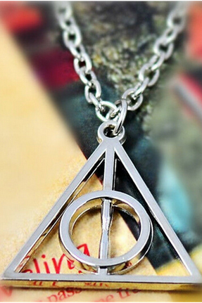 Harry potter necklace, deathly hollows necklace, fashion triangle necklace,gift for friends
