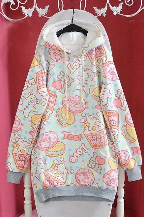 Cartoon Cream Dessert Fleece Hoodie