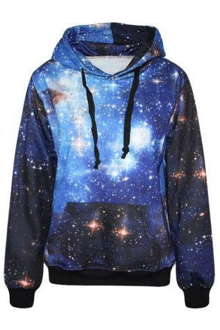 Blue Galaxy Gradient Hooded Sweater