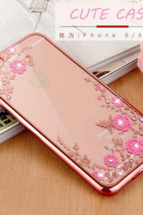 Luxury Flower Tpu Case for iPhone 5/5s/se/6/6s plus Cute Phone Base Back Protective skin