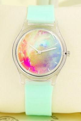 Galaxy Transparent Waterproof Watch, Couple Wristwatch,Student Watch