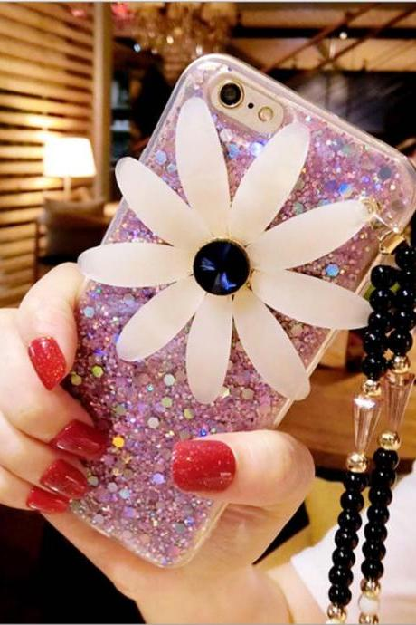 New Fashion Luxury Glitter Sunflower Case Cover for iPhone 6 6s 7 plus oppo r9 vivo x7 Plus