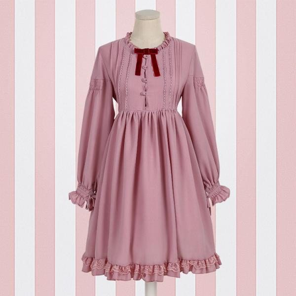 Lolita Vintage elegance lantern long-sleeved dress