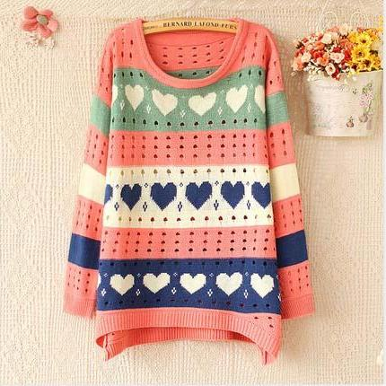 Fashion Heart Hollow-out Sweater