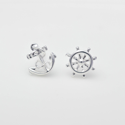 Sterling Silver Anchor Rudder Earring Stud