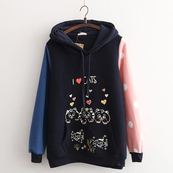 Cute Cat Fleece Hooded Sweater